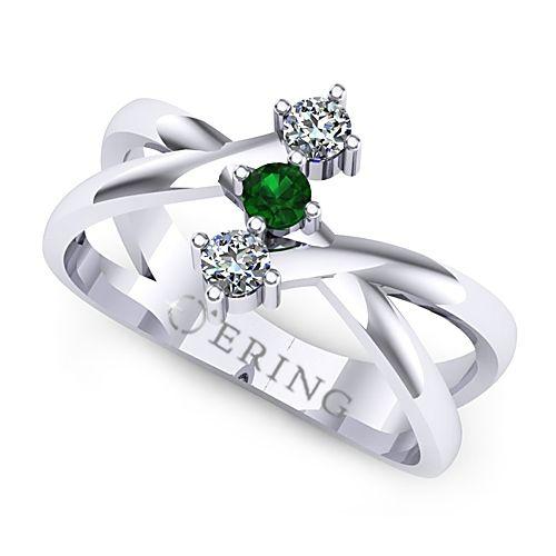 Inel logodna L123ASM inel cu diamante si smarald