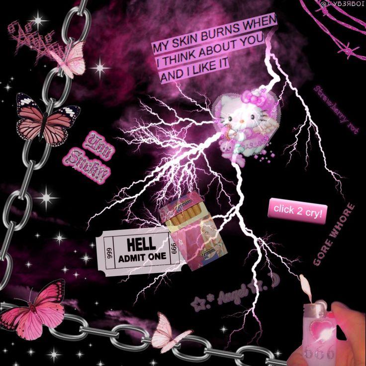 aesthetic goth pink cybergoth edit iphone emo grunge scene steampunk