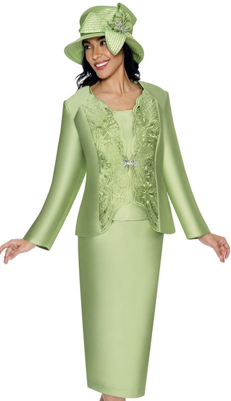 GMI 6173-GRE-IH ( 3pc Silk Look Pattern Cut-Out Jacket, Cami And Skirt Womens Church Suit ),Affordable GMI Spring And Summer Church Suits 2017