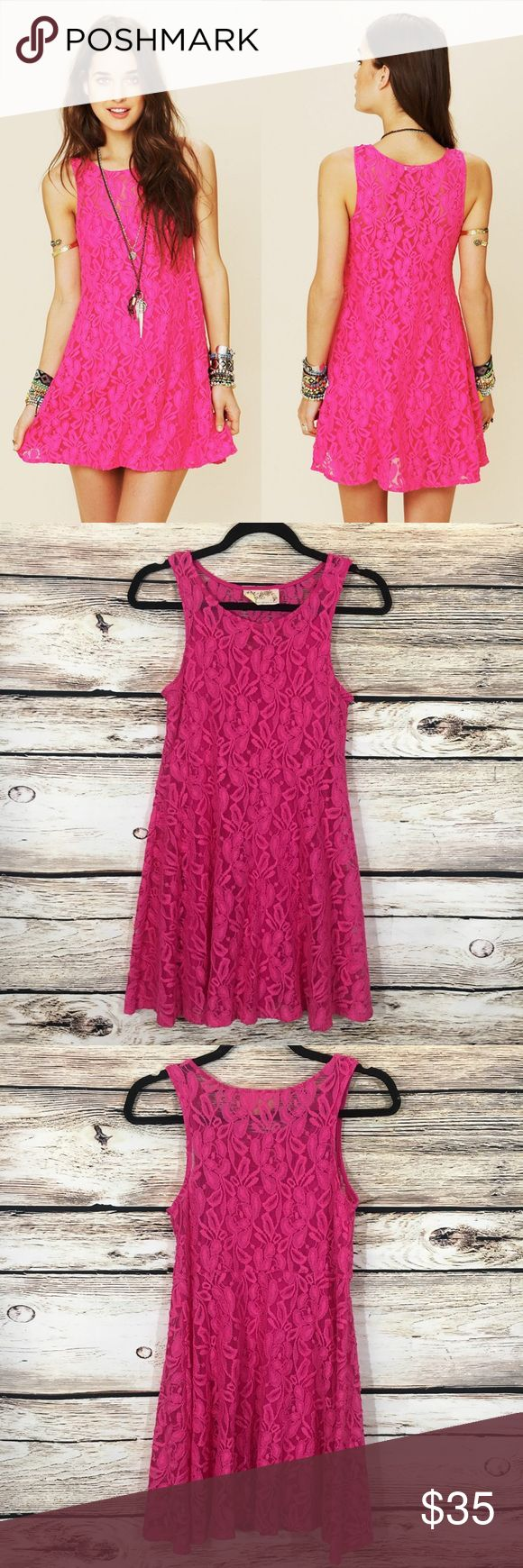 "Free People miles of lace hot pink mini dress XS Free People miles of lace dress in hot pink, built in slip, skater style, fit flare dress. Size XS, bust 32"", waist 32"", length 34"" in great condition Free People Dresses Mini"