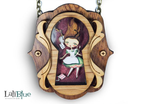 Necklace Alice in Wonderland. Quality wood in various shades shaped lock. Original artwork in paper cutting (Pop Up), creating different depths.