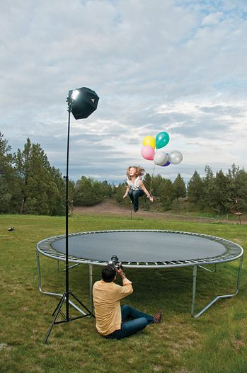 flying photography / balloons + trampoline = genius! Love this, must do for spring 2012...with an umbrella too