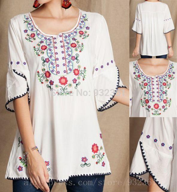 Vintage mexicano Floral bordado camisas casuales ropa mujer BOHO Hippie mujer Blusas mujeres tops Blusas femeninas 2015, sml