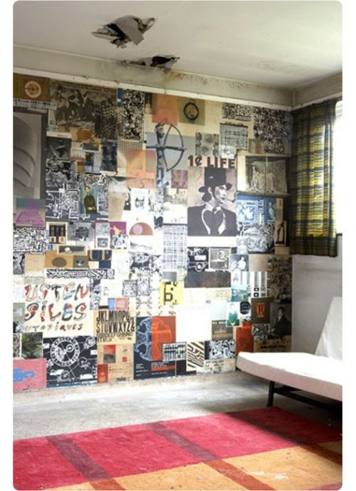Diy poster wallpaper like this idea for one wall in a Decorating walls with posters