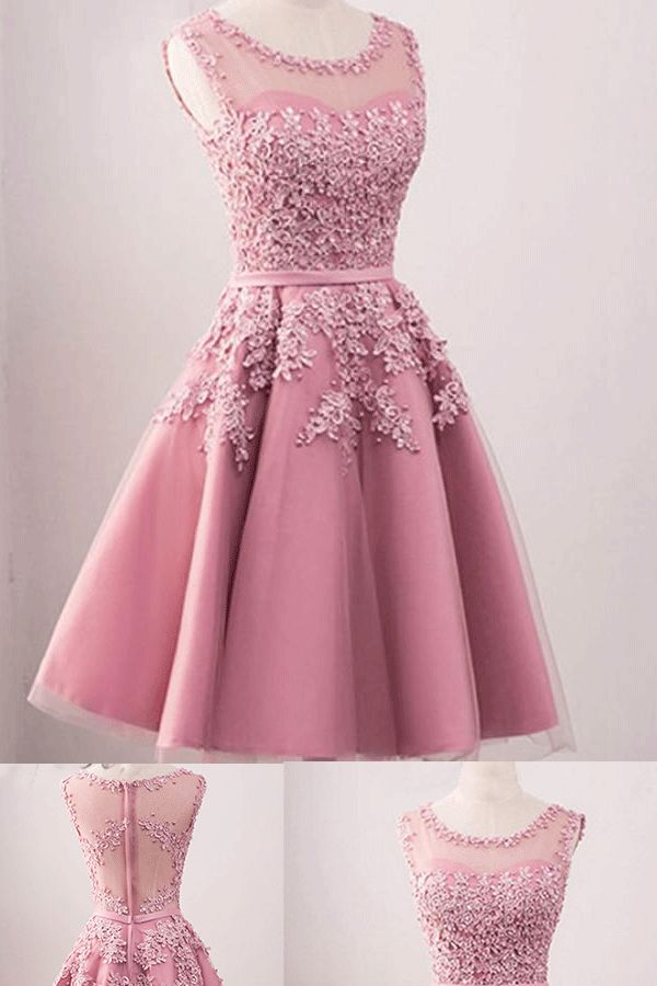 Outlet Pink Homecoming Dresses, Short Homecoming Dresses, Short Pink Homecoming Dresses With Applique Mini Prom Dresses #homecomingdresses #shortpromdresses #eveningdresses #dresses2018
