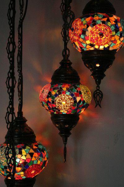 Multicoloured Swirl Turkish Mosaic Five Piece Pendant Chandelier