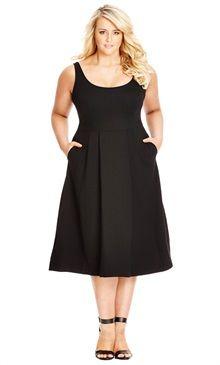 Plus Size Classic Longline Plus Size Fit & Flare Dress