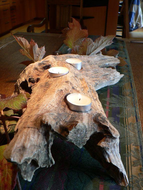 Holiday center piece, Rustic candle holder, driftwood candle holder, mantle piece, Cabin decor, coastal decor, beach decor
