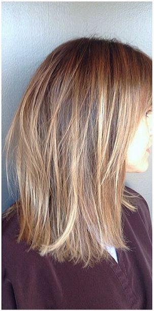 golden blonde highlights… mostly a little bit light than julies hair with a few MUCH lighter pieces… so cute