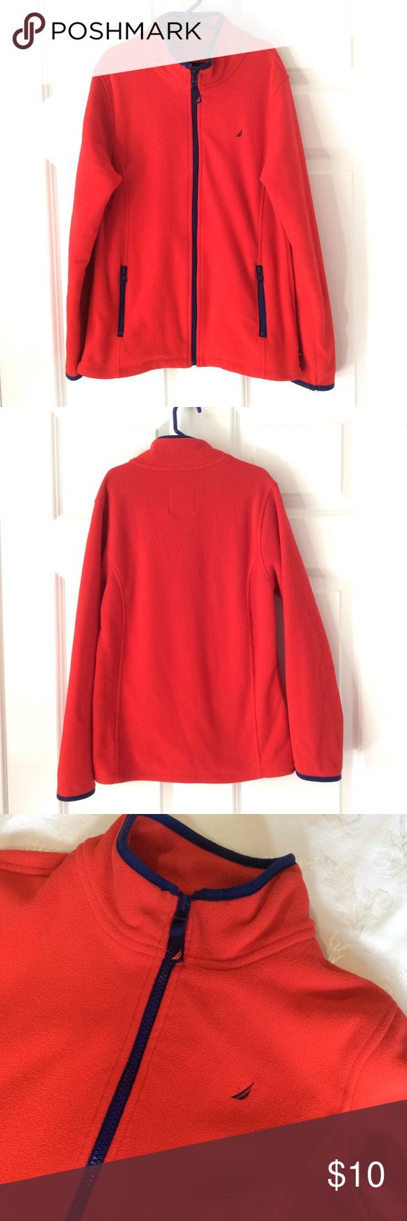 GIRLS Nautica red zip up fleece GIRLS Nautica red zip up fleece with blue trim. Size 12. 100% polyester.  Pre loved, gently worn.  Pre loved, gently worn condition. Nautica Shirts & Tops Sweatshirts & Hoodies