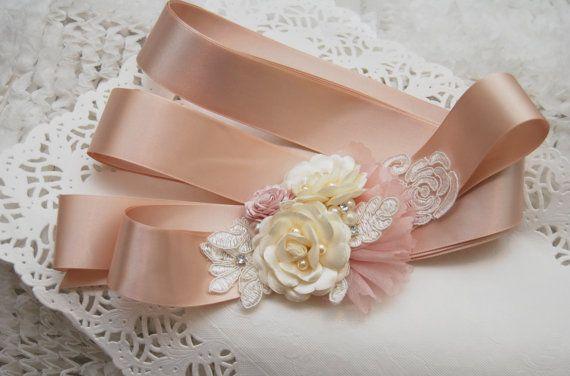 Wedding Sash OOAK Bridal Sash Flower Sash by BridalBlushChampagne