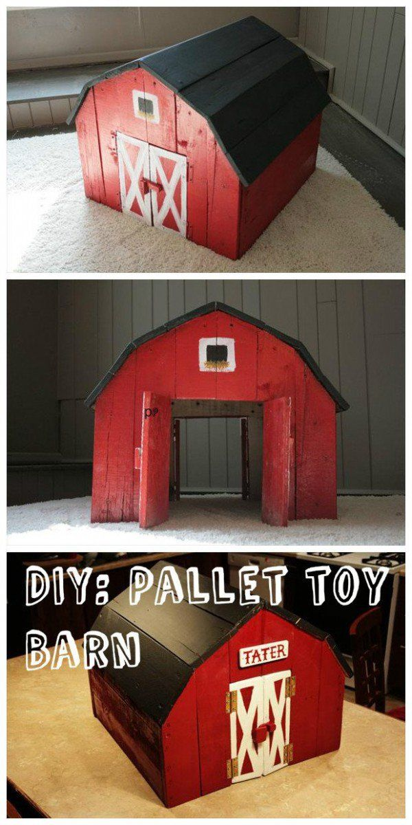 I do not know a kid that would not like playingwith a DIY toy like this home made barn.Katie Carrier made this one out of pallets. No need to provide you with precise directions. Just take the boards from a