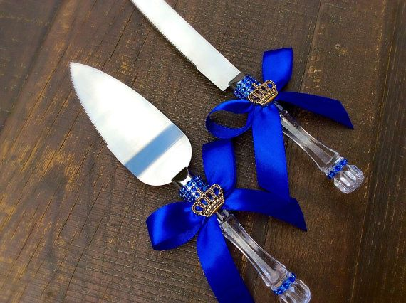 Royal blue Baby shower knife cake set-Little by Marshmallowfavors