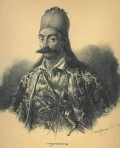 Προσωπογραφία Γεώργιου Καραϊσκάκη, έργο του Karl Krazeisen. Το ημιτελές πορτρέτο του Γ. Καραϊσκάκη είναι φιλοτεχνημένο λίγο πριν το θάνατό του. Ο Karl Krazeisen είχε συμμετάσχει στην πολιορκία της Αθήνας και της Ακρόπολης (Μάρτιος – Απρίλιος 1827). Στη διάρκεια αυτής της μάχης σκοτώθηκε ο Καραϊσκάκης, το πρόσωπο του οποίου σχεδίασε λίγο πριν τον κτυπήσει το μοιραίο βόλι