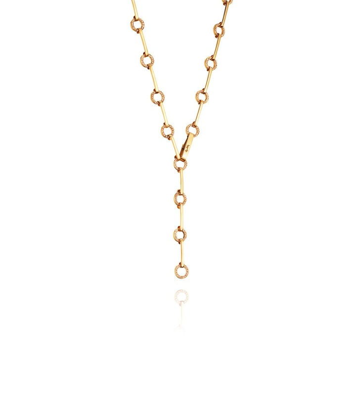 Star Ring Chain Necklace - Gold with diamonds - Necklaces - Efva Attling