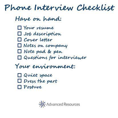 Phone interview checklist