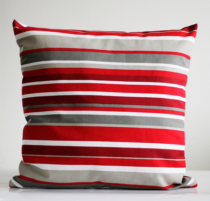 Decorative pillow cover red and grey - accent pillows - throw - sham - 20x20. $18.00, via Etsy.