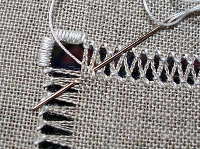 Drawn Thread Embroidery: Working Zig-Zags & Corners.