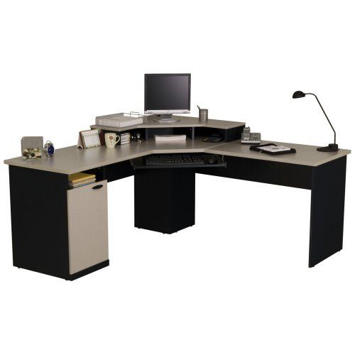 Bestar hampton corner computer desk furniture computers and charcoal - Computer cart walmart ...