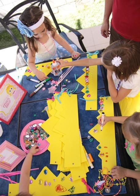 Princess Party Activity Ideas for Girls -- Precut paper crowns for each child to decorate with jewels, beads, bows and markers.