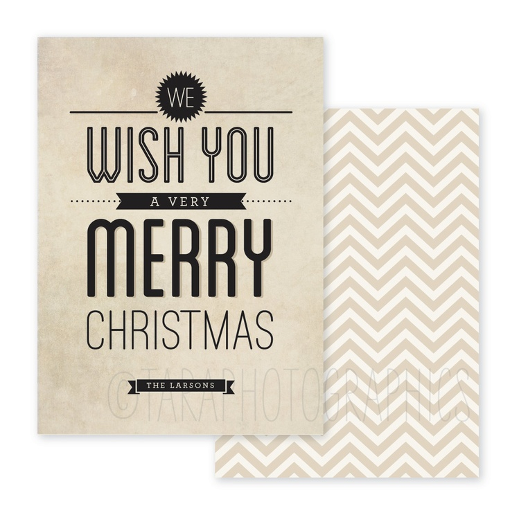 50 typography and chevron holiday cards.  via Etsy.