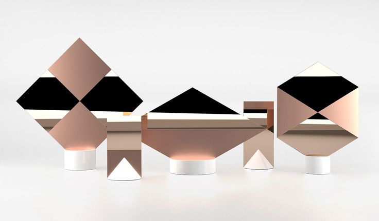A series of geometric mirrors inspired by nautical flags made of copper and ceramic that create visual illusions due to their polished and matte finishes.