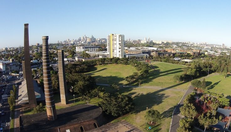 Sydney Park remains iconic with its heritage brickwork chimneys, wetlands, playgrounds and sports facilities that best seen from the sky.