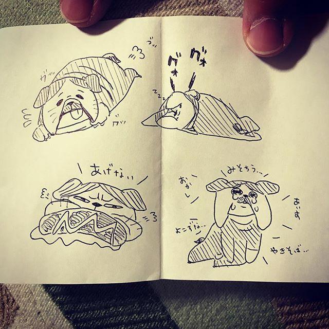 火葬中に描いたベック。 会いたいなあ。 絵はお母さんがあげました。 #ブルドッグ #bulldog #愛犬 #犬 #他界 #またね #火葬 #イラスト #絵 #ボールペンイラスト #ボールペン一発描き #大好き #我が家の天使