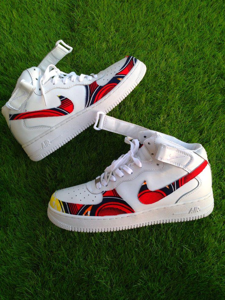 #Air Force One #Red #Wax #Ankara #Waxfeller #Custom #Sneakers #Kicks #Fashion #Men #Women #Hommes #Femmes #Kicks #Nike