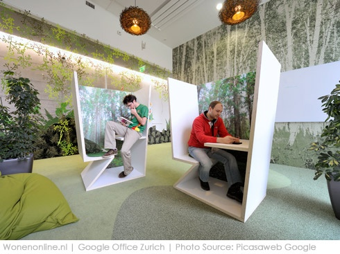 Binnengluren bij google spaces office interiors and office spaces