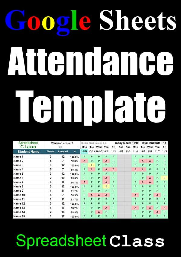 Attendance Tracker Templates For Google Sheets Attendance Tracker Student Attendance Sheet Student Attendance