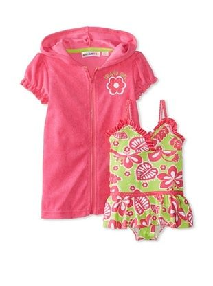 53% OFF Wippette Kid's Floral One Piece with Cover-Up (Fuchsia)