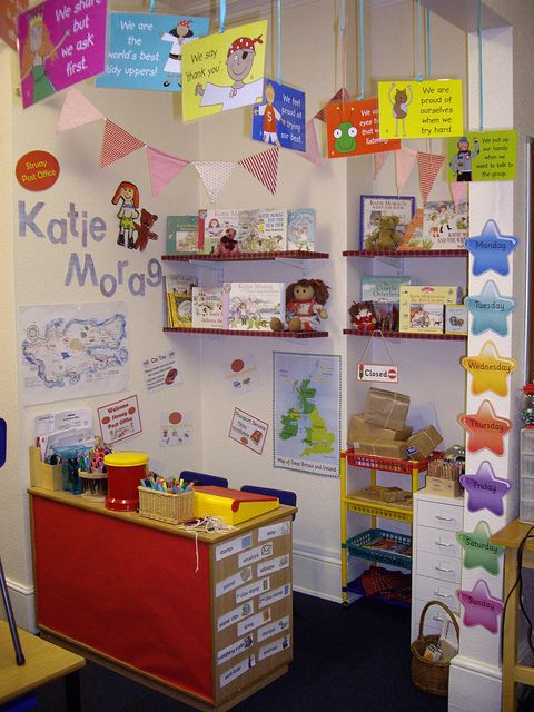 "I like those hanging signs, esp. ""We share, but we ask first."" THE ENTIRE CENTER IS BASED ON A CHILDREN'S BOOK...KATIE MORAG DELIVERS THE MAIL!!"