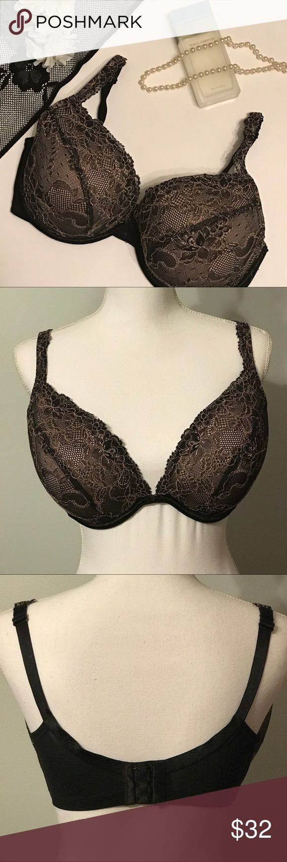 Cacique Lane Bryant lace plunge push up bra Pretty black and cream lace cacique bra. Has adjustable straps and mesh back with 3 hook closure. Removable air pads for adjustable push up. Popular type that has been discontinued, hard to find! Great condition. Size 38DDD. Cacique Intimates & Sleepwear Bras