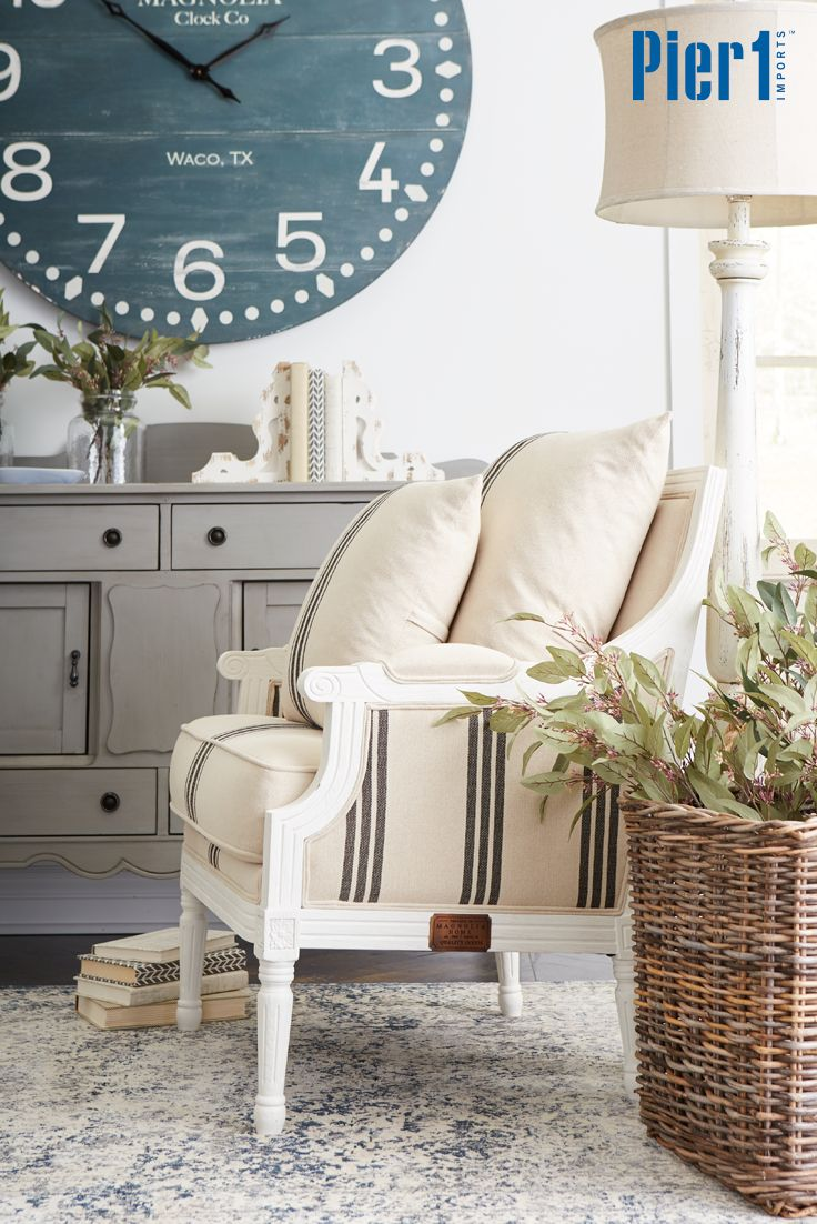 What's old is new again, and this Sheraton-style Parlor Chair from the Magnolia Home by Joanna Gaines Collection is built for today with sturdiness and comfort. Scaled to fit almost anywhere, its neoclassical trim comes finished in Jo's white, with a bold onyx-striped cotton/polyester cover of natural grain sack fabric. Pillows are included. Shop over 300 styles of rugs, pillows, throws, furniture and decor at pier1.com, or visit your neighborhood store.