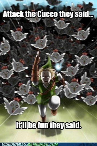 First time my boyfriend, Patrick, played Ocarina of Time... I told him to strike them to see what happems. :-P