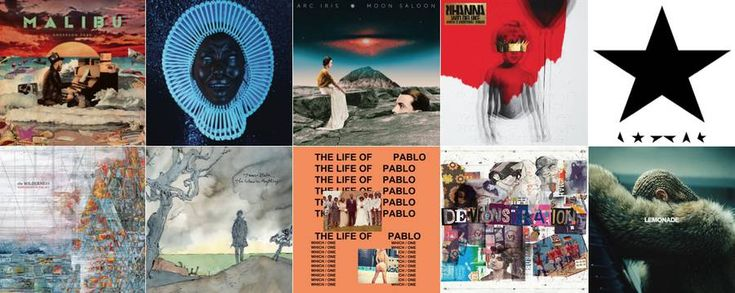 10 Best Album Covers of 2016  At this end of the year 2016 we propose you as in 2014 and 2015 to discover or rediscover the most beautiful album covers. Some are very graphic and artistic others are more minimalistic by full of symbols. From Anderson .Paak to Rihanna including David Bowie and Childish Gambino an eclectic and inspiring sélection.  Anderson .Paak Malibu.  Rihanna Anti.  Arc Iris Moon Saloon.  Childish Gambino Awaken My Love!.  Beyonce Lemonade.  David Bowie Black Star.  The…