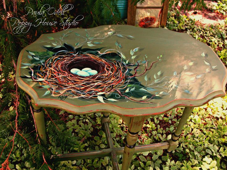 Hand painted woodsy little nest table... :)