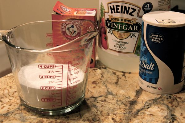 Drain cleaner: 1 c salt, 1 c baking soda, .5 c vinegar, mix, wait 10 min, follow with half gal boiling water