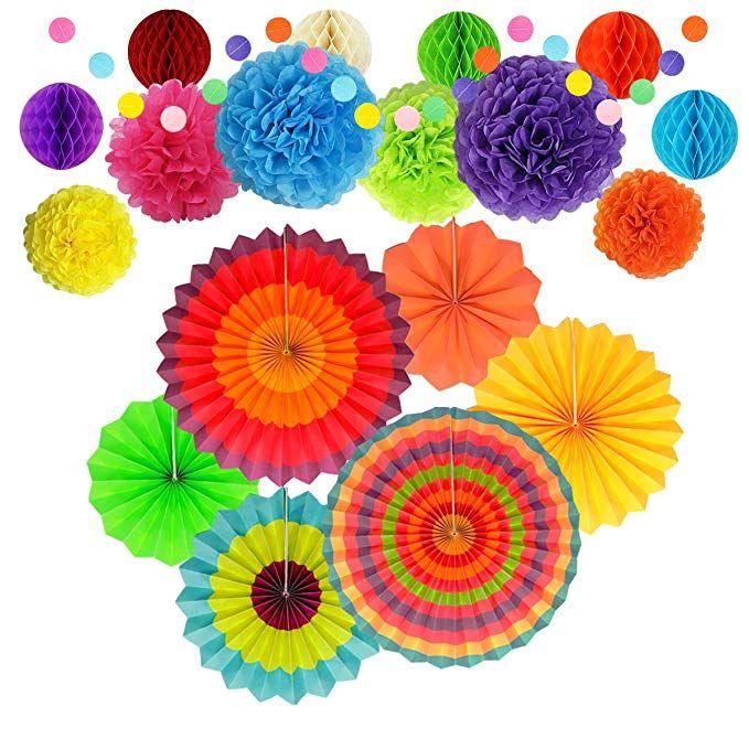 60×Paper Fan Mexican Fiesta//Cinco De Mayo //Carnival// Kids Party Home Hanging Fan