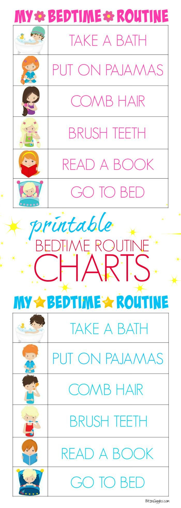 Printable Bedtime Routine Charts - Free printable kids bedtime routine charts to help teach kids independence and provide guidance for their evening routine! Charts for boys and girls! #Read2Me #ad