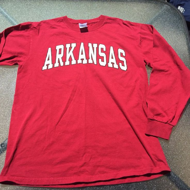 Mens Arkansas Razorbacks Long Sleeve Red T Shirt 100% Cotton  #Gildan #ArkansasRazorbacks