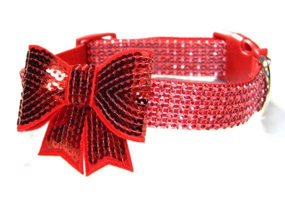 Rhinestone Dog Collar: Red Hot Rhinestone Dog Collar. $20.00, via Etsy.