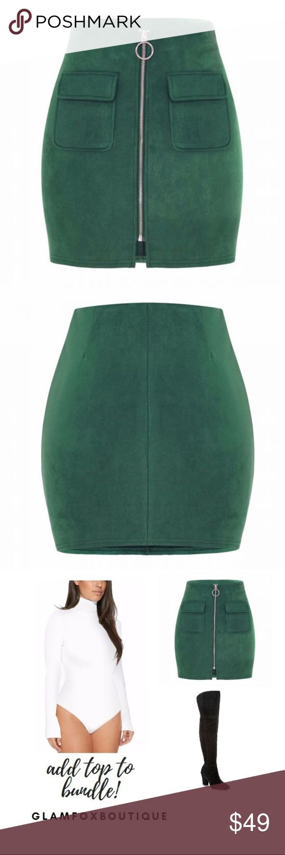 Suede Emerald Green Color Skirt FALL SEXY Suede High Waist Solid Color Skirt -SEXY NEW FALL  You'll never want to get outta this piece!!   This high waisted mini skirt features a faux suede material with a form fitting and breathable stretch to flatter your figure effortlessly!    Hits at your upper stems.  Pair this with the bodysuit pictured above from my closet bundle to save W/ knee high boots and own the city!   Add the top from my closet and bundle to save! Skirts