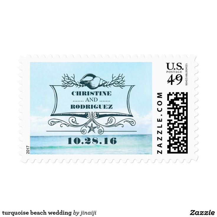 turquoise beach wedding postage turquoise sea elegant beach wedding postage stamps