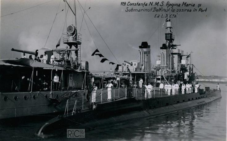 Constanta - submarinul Delfinul - interbelica