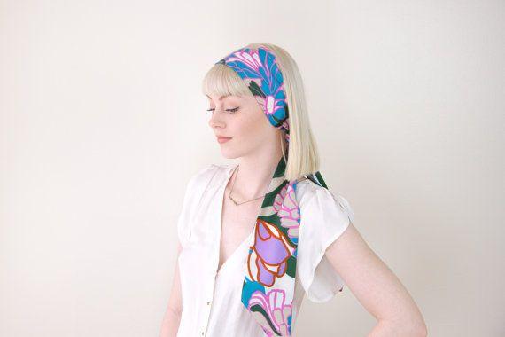 vintage satin hair scarf headband / silk hair scarf by MoonRevival
