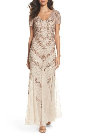 Free shipping and returns on Adrianna Papell Beaded Mesh Mermaid Gown at Nordstrom.com. Make a stunning entrance in this graceful beaded gown that narrows at the waistline before flaring into a twirly mermaid skirt.
