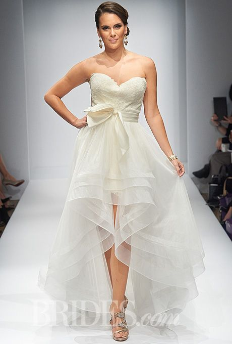Brides.com: Matthew Christopher Couture strapless low-high wedding dress Fall 2014 | Click to see more from this collection!