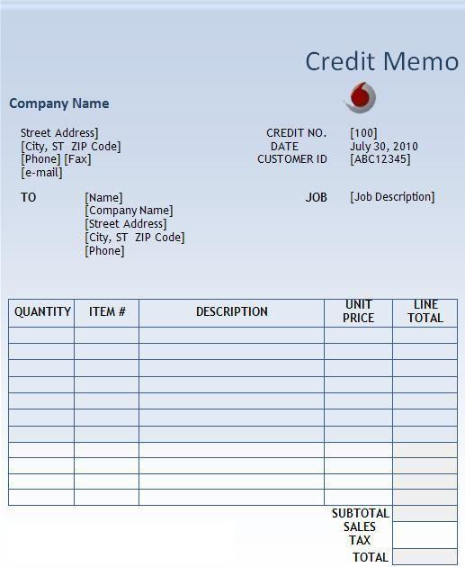 Credit Memo Template